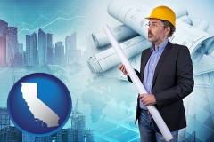 California - building contractor holding blueprints - cityscape background
