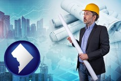 washington-dc map icon and building contractor holding blueprints - cityscape background