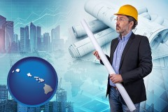 Hawaii - building contractor holding blueprints - cityscape background