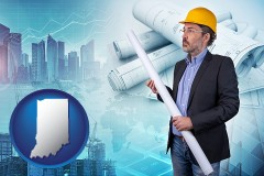 Indiana - building contractor holding blueprints - cityscape background