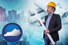 Kentucky - building contractor holding blueprints - cityscape background