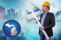 Michigan - building contractor holding blueprints - cityscape background