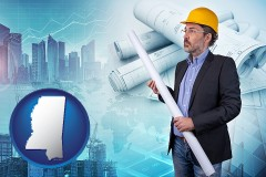 Mississippi - building contractor holding blueprints - cityscape background