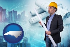 North Carolina - building contractor holding blueprints - cityscape background