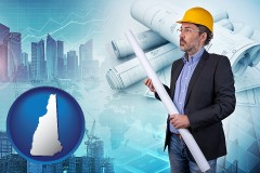 New Hampshire - building contractor holding blueprints - cityscape background