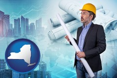 New York - building contractor holding blueprints - cityscape background