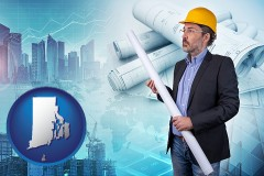 Rhode Island - building contractor holding blueprints - cityscape background