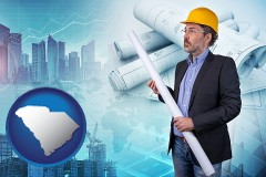 South Carolina - building contractor holding blueprints - cityscape background