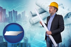 Tennessee - building contractor holding blueprints - cityscape background