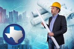 Texas - building contractor holding blueprints - cityscape background