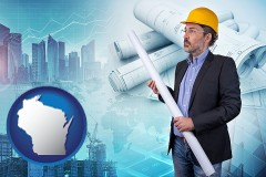 Wisconsin - building contractor holding blueprints - cityscape background