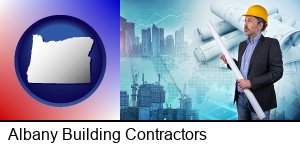 Albany, Oregon - building contractor holding blueprints - cityscape background