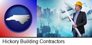 Hickory, North Carolina - building contractor holding blueprints - cityscape background