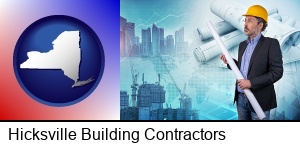 Hicksville, New York - building contractor holding blueprints - cityscape background
