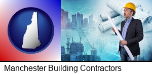 Manchester, New Hampshire - building contractor holding blueprints - cityscape background