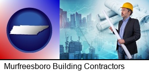 Murfreesboro, Tennessee - building contractor holding blueprints - cityscape background