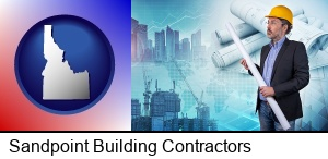 Sandpoint, Idaho - building contractor holding blueprints - cityscape background
