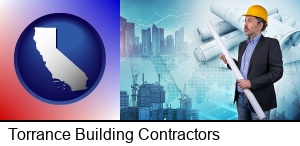 Torrance, California - building contractor holding blueprints - cityscape background