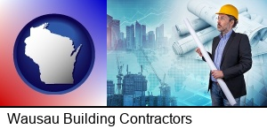 Wausau, Wisconsin - building contractor holding blueprints - cityscape background